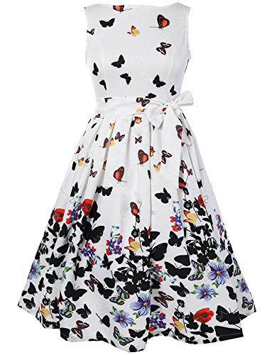 Floerns Women's V Back Butterfly Print Flare Dress Large - Print Butterfly Dress