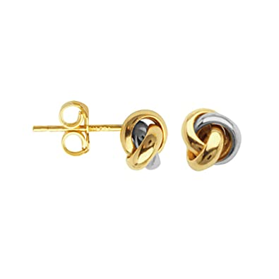 ed86ff3e3 Amazon.com: LOVE KNOT EARRINGS, 10KT GOLD TWO TONE CLOSED 3 LOOP ...