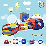 Kids Play Tent Children Playhouse Tunnel Ball Pit Indoor Outdoor Pop Up Toys with Mini Basketball Hoop Fun Games for Boys Girls Babies and Toddlers 5 In 1 Set