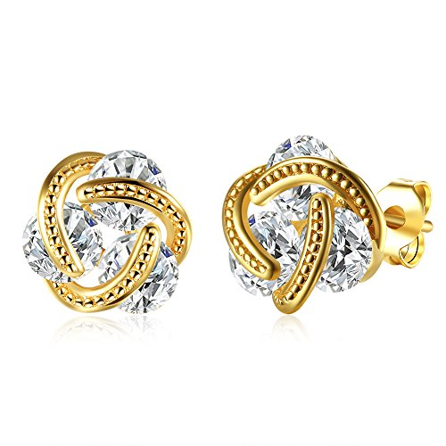 Knot Love 14k (14K Gold Love Knot CZ Stud Earrings For Women Girls Cubic Zirconia Crystal Zircon Huggie Post)