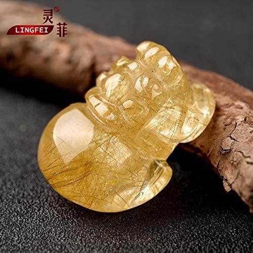 金发晶貔貅吊坠一物一图招财貔恘金钛晶黄水晶项链男女 #2343