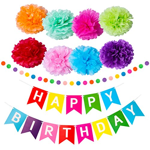 Trooer Happy Birthday Banner with Colorful Paper Pom Poms Flowers Birthday Party Supplies Rainbow Personalised Birthday Banners for Birthday Party Decorations for $<!--$8.99-->