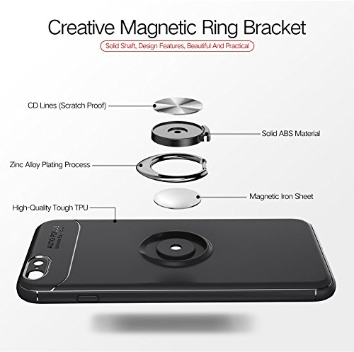 iPhone Black 6S 6 Ring 6S Car Mount TPU iPhone Stand 6 Black Black Plus Case Metal Plus Magnetic Soft Protective Black Rotatable Slim rrC1q