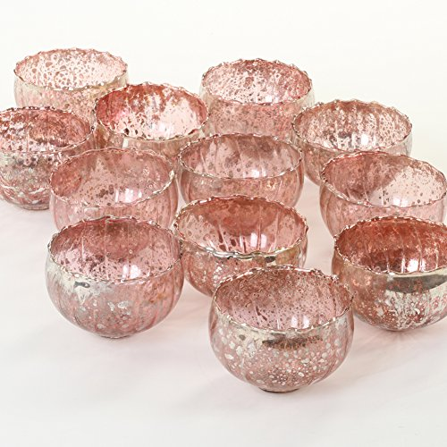 (Koyal Wholesale Rose Gold Vintage Floating Tealight Candle Holders, 12-Pack, Petite Glass Candle Holders for Tealight Candles, Electric Candles, Battery Tealight Candles, Tealight Votives (Rose Gold))