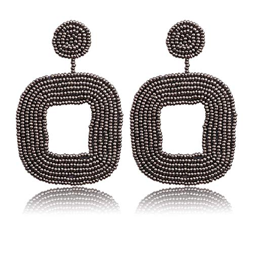 (HAO HONG Beaded Drop Earrings Bohemian Wire Wrapped Beaded Square Hoop Dangle Statement Earrings (Grey))