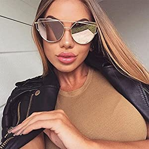 Large Oversized Cat Eye Sunglasses Metal Frame Flat Mirror Lens Women Fashion Gold Mirrored