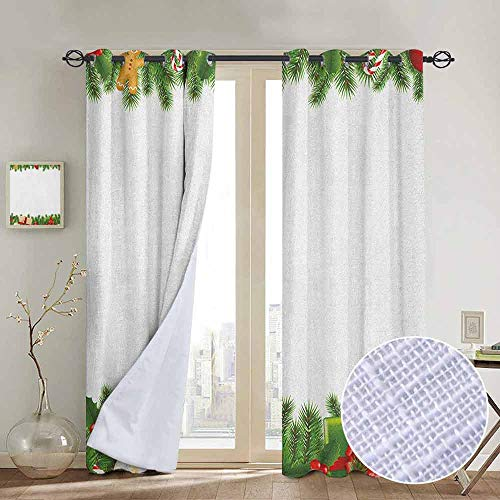 Modern Farmhouse Country Curtains Christmas,Celebration Borders Fir Tree Classic Garland Gingerbread Man Lollipops Presents, Multicolor,Design Drapes 2 Panels Bedroom Kitchen Curtains 54
