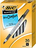BIC Round Stic Grip Xtra Comfort Ball Pen, Medium Point (1.2 mm), Black, 36-Count