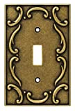 Brainerd 126348 Casual French Lace Single Toggle Switch Wall Plate / Switch Plate / Cover, Burnished Antique Brass