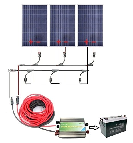 ECO-WORTHY 300W Complete Solar Kit for 12v Battery Charger: 3pcs 100W Panels + Solar Cable + 45A PWM Charge Controller + MC4 Branch Connectors + Z Bracket Mounts+100Ah 12V Sealed Lead-Acid Battery by ECO-WORTHY
