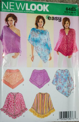 New Look 6488 Sewing Pattern Misses Easy Poncho Size 6-24 ()