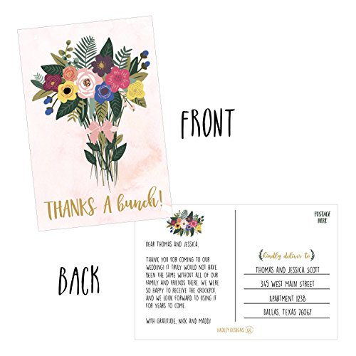 50 4x6 Watercolor Floral Thank You Postcards Bulk, Cute Boho Flower Thank You Note Card Stationery For Wedding, Bridesmaid, Bridal or Baby Shower, Teachers, Appreciation, Religious Event, Business Etc Photo #2