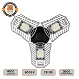 LED Garage Lights - Deformable LED Garage Ceiling Lights 6000 Lumens - 60W CRI 80 Led Shop Lights for Garage - 3 Adjustable Panels to Direct the Light (No Motion Activated)