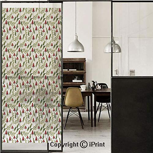 Mushroom 3D Decorative Film Privacy Window Film No Glue,Frosted Film Decorative,Watercolor Pattern Green Leaves Forest Elements Botanical Woodland Theme Decorative,for Home&Office,23.6x70.8Inch Reseda ()