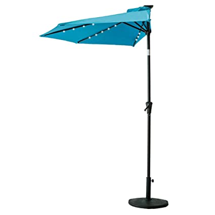 Incroyable FLAMEu0026SHADE 9u0027 LED Half Round Outdoor Patio Market Umbrella With Crank  Lift, Push Button
