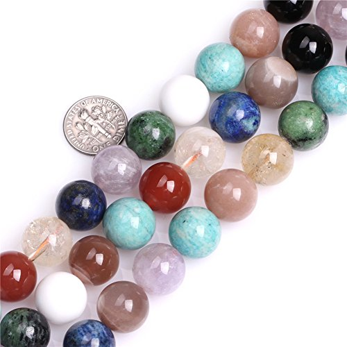 Multicolored Mixed Stone Beads for Jewelry Making Natural Semi Precious Gemstone 14mm Round Strand 15