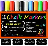 Large Chalk Markers DoSensePro 10 Quality Colors Including 2 White Chalkboard Markers + Free 32 Chalkboard Labels, Perfect for Restaurants, Office, Home, Art, Weddings Party Decorations, Get Yours Now
