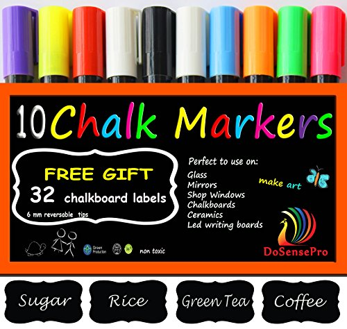 Chalkboard Markers 10 Neon colors - Including 2 White Liquid Chalk Markers + 32 Chalkboard Labels, for Restaurants, Bistro, Office, Home, Art, Weddings Party Decorations by DoSensePro Get Yours Now