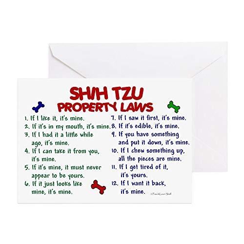 CafePress Shih Tzu Property Laws 2 Greeting Card, Note Card, Birthday Card, Blank Inside Glossy