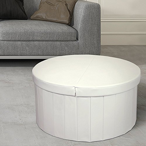 Cocktail Ottoman Round Ottoman - Otto & Ben Storage Ottoman Coffee Table with Smart Lift Top Folding Round Faux Leather Trunk Bench Foot Rest, 30