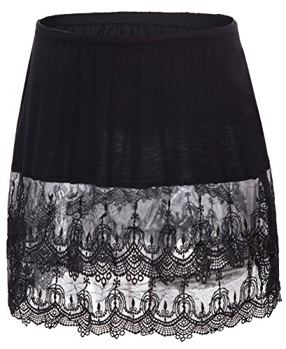 GRACE KARIN Sexy Women's Skirt Modal Skirt with Lace Bottom Patchwork(S,Black 0693)