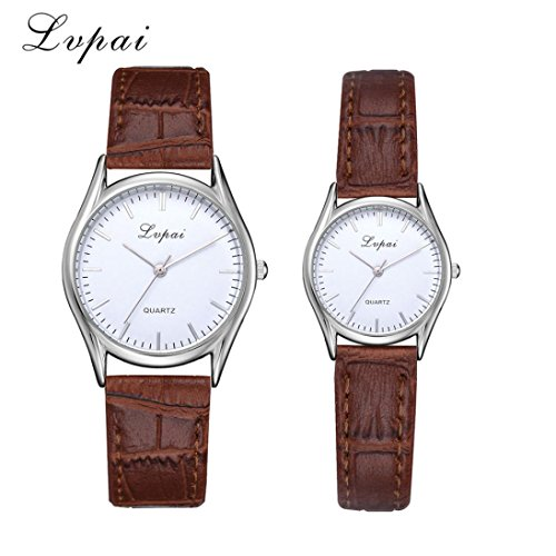 DEESEE(TM) 1 Pairs Lvpai Leather Band Watch Casual Couples Quartz Analog Wrist Watch (Brown) (Watch Jewelry Review)