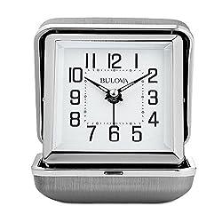 Bulova Traveler Quartz Ascending Alarm Metal Clam Shell Alarm Clock (Silver)