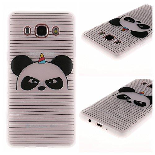 Funda Samsung Galaxy J7 2016 SM-J710F,XiaoXiMi Carcasa de Silicona TPU Suave y Esmerilada Funda Ligero Delgado Carcasa Anti Choque Durable Caja de Diseño Creativo - Flores de Elefante Angry Panda