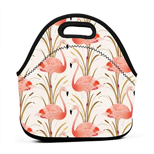 WONDERMAKE Insulated Lunch Tote Bag Package Pink Flamingo Clipart Style Travel Picnic School Office Outdoor Lunch Handbags Portable Zipper Lunch Bag ()