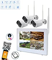 Wireless Security Camera System 720P 9 LCD HD Monitor 4 Channel Capacitive Touch Screen CCTV Kit Built in 1TB Surveillance Hard Drive for Home Outdoor and Indoor Video Monitoring( Probe3)