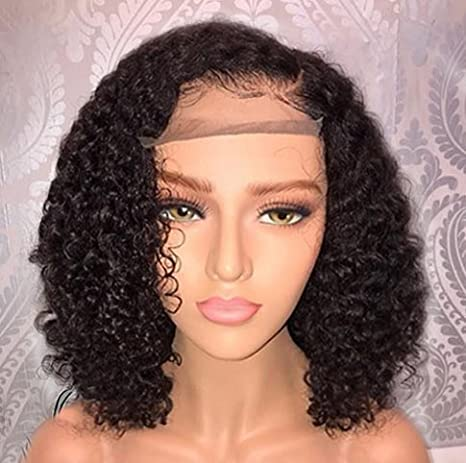 Jessica Hair Black Women Curly Brazilian Virgin Hair Lace Front Wigs Human Hair Wigs Glueless with Baby Hair(14 inch with 150% density)