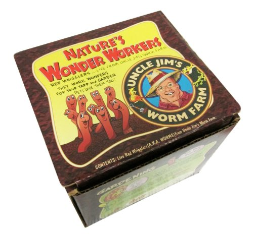 Uncle Jim's Worm Farm 250 Count Red Wiggler Live Composting Worms ()