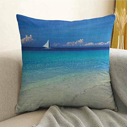 FreeKite Nautical Pillowcase Hug Pillowcase Cushion Pillow Exotic Tropic Beach in Philippines Island Horizon Summer Paradise Concept Anti-Wrinkle Fading Anti-fouling W16 x L16 Inch Turquoise Cream