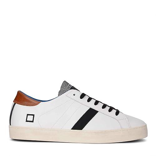 7f41bbad49677 D.A.T.E. Sneaker Hill Low Pop in Pelle Bianca con Linguetta a Quadretti   Amazon.it  Scarpe e borse