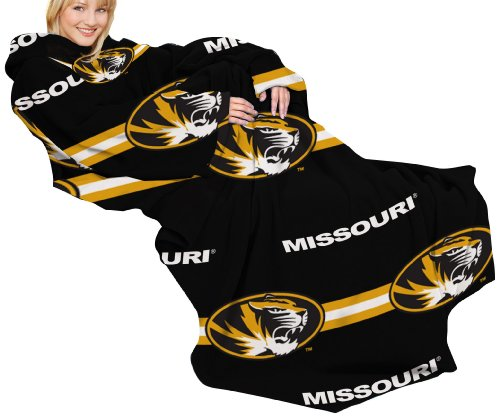 NCAA Missouri Tigers Comfy Throw Blanket with Sleeves, Stripes Design