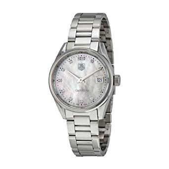 ee382cb8d1c Amazon.com  Tag Heuer Carrera Mother of Pearl Dial Stainless Steel ...