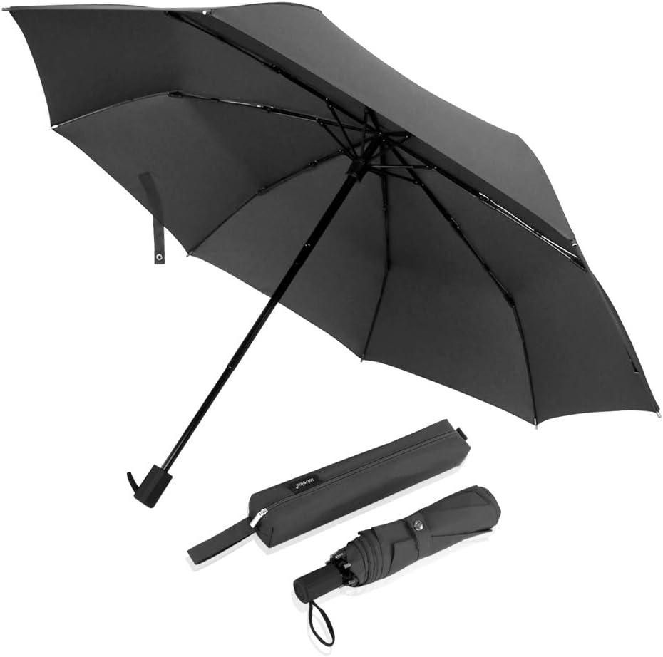Jixi Umbrella Rain Umbrella UV Protection Compact Automatic Foding Travel Umbrella Portable Windproof Rainproof Parasol Sun Umbrella Windproof Color : B