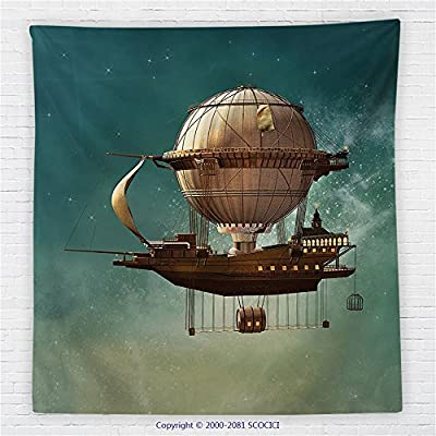 59 x 59 Inches Fantasy Decor Fleece Throw Blanket Surreal Sky Scenery with Steampunk Airship Fairy Sci Fi Stardust Space Image Blanket Blue Gold
