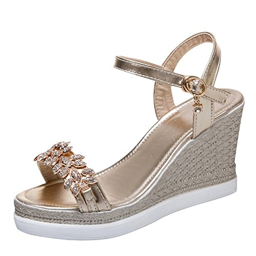Mee Shoes Women's Shining Buckle Platform Wedge Heel Sandals Gold z9Igo