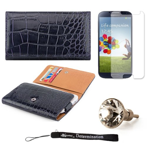 Elegant Crocodile Skin Multi-Use Wallet Protective Case with Secure Hand Strap (Blue) For Samsung Galaxy S4 Android Smartphone 4G LTE (Jelly Bean) + Silver Swarovski Crystal Headphone Jack Dust Plug + an eBigValue  Determination Hand Strap by eBigValue