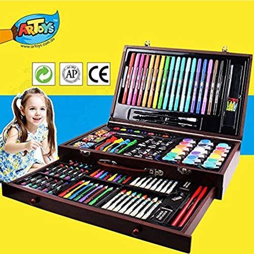 ARTOYS Art Set Kids 123 Piece Drawing Painting Set Artist Kit,Crayon Set,Watercolor Paint Set,Colored Pencils,Marker Pens,Oil Pastels,Acrylic Paint,Portable Art Wood Case,Gifts for Kids Teens Adults]()