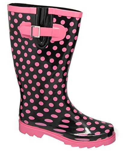 Ladies Stormwells Black Pink Strap Waterproof Wellington boots