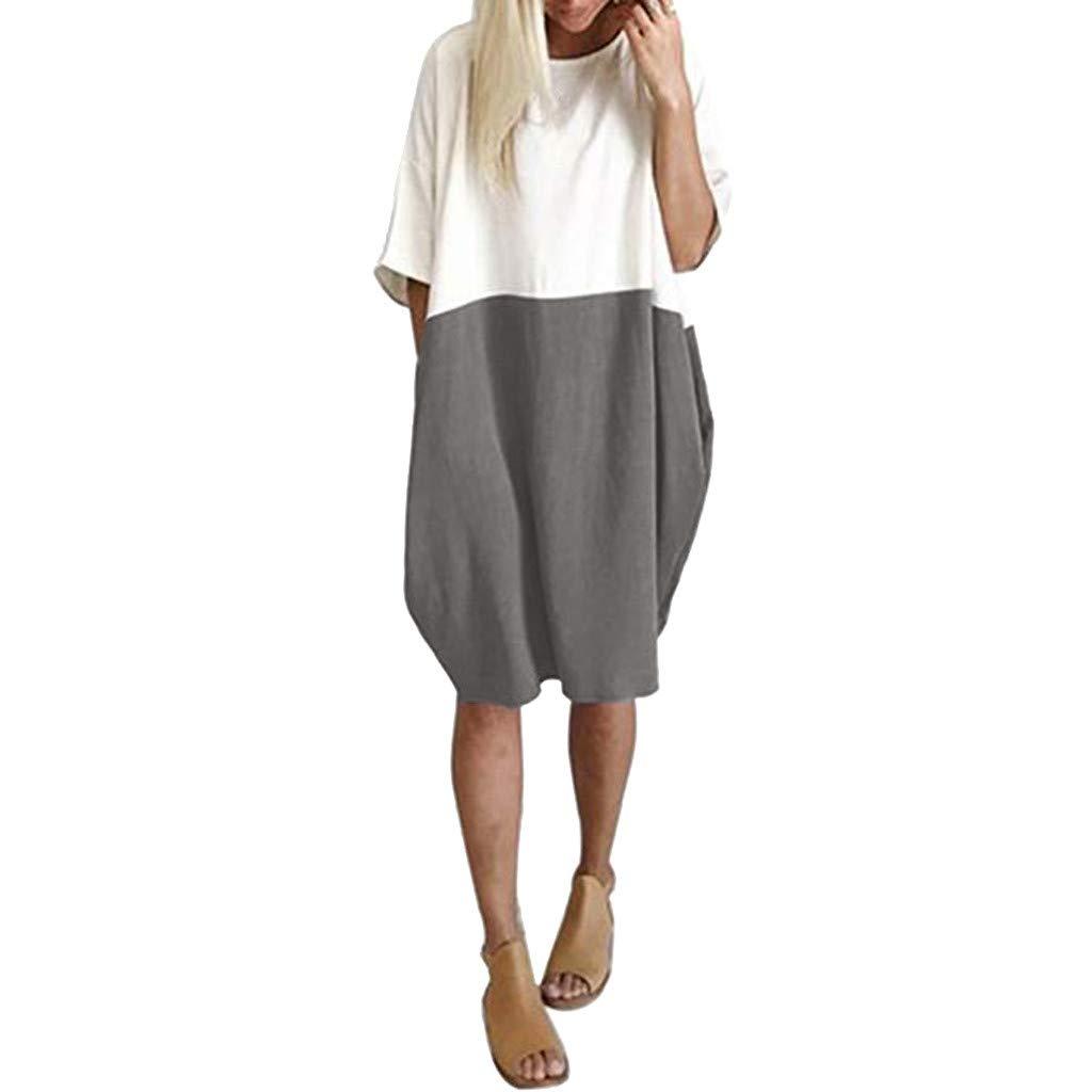 TIFENNY Women Casual Loose Midi Dress Cotton Linen Patchwork Color Bat Half Sleeve Soild Button Splice Pocket Dresses Gray