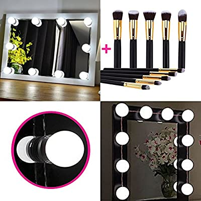 Hollywood Style LED Vanity Mirror Lights Kit, Vanity Lighting Fixture Strip for Makeup Table Set in your Dressing Room with Dimmable Light Bulb (10 New Version Bulbs + 10 Premium Makeup Brushes)