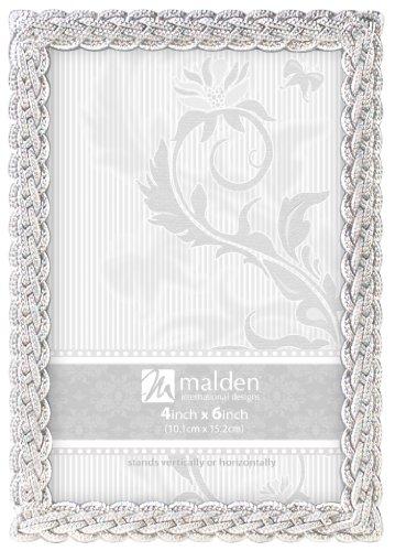 - Malden International Designs Belmore Silver Braided Picture Frame, 4x6, Silver