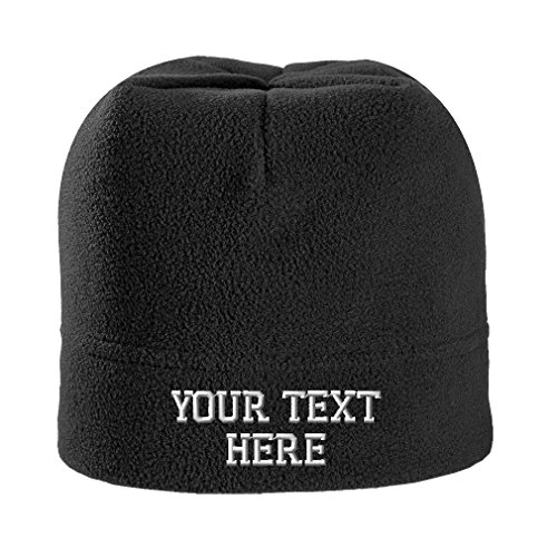 Personalize Your Custom Text On Unisex Adult Polyester/Spandex Stretch Fleece Beanie Skully Hat - Black, One Size]()
