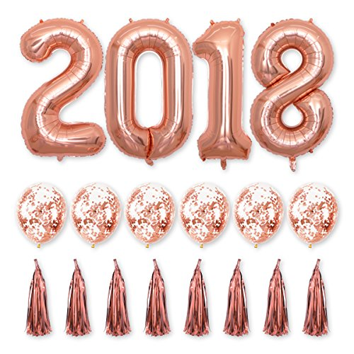 40inch Rose Gold 2018 Balloons Graduation Party Balloons with Rose Gold Confetti Balloons DIY Foil Tassel Garland Banner for Grad Event Anniversary Party Decorations (Rose Gold)