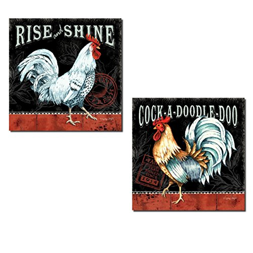 2 Retro Rooster Rustic Art Prints Country Kitchen Decor, 12x12in Poster Prints. Red/White/Black (Black And White Rooster Decor)