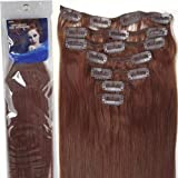 20''7pcs Fashional Clips in Remy Human Hair Extensions 24 Colors for Women Beauty Hot Sale (#33-dark auburn)
