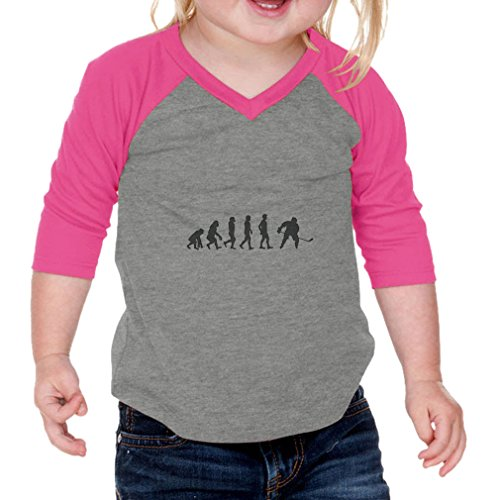 Cute Rascals Evolution of Ice Hockey Infants Jersey V Neck 3/4 Sleeve Gray Hot Pink 12 - Jersey Evolution Hockey